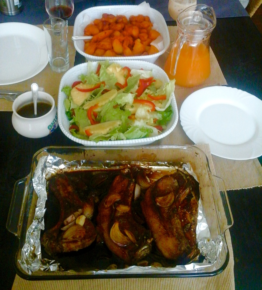 VIAZI KARAI, HONEY- SOY PORK CHOPS, PINEAPPLE PEACAN SALAD WITH A HONEY SOY VINNAIGRETTE.... AND SOME HAPPY AKA TRUTH JUICE