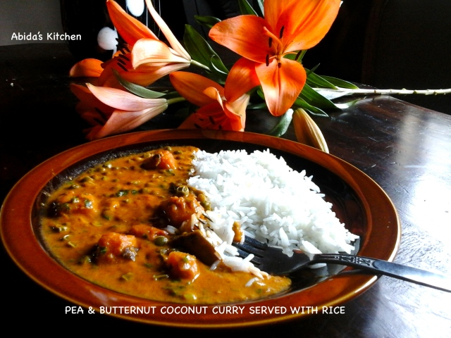 PEA & BUTTERNUT COCONUT CURRY SERVED WITH RICE | abidabuoroskitchen.wordpress.com