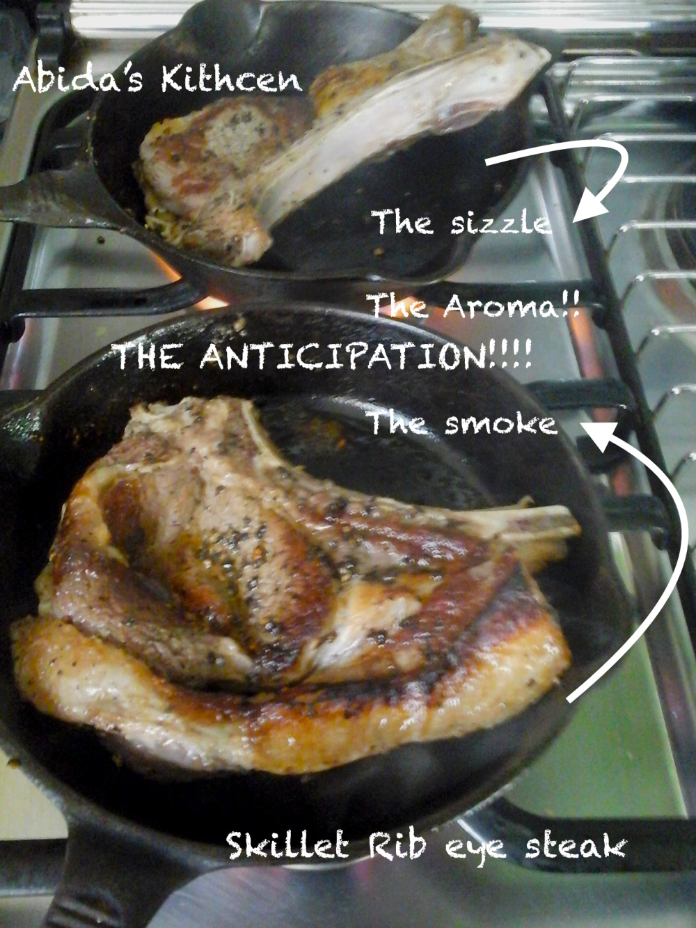 Iron Skillet Rib Eye Steak with a Basalmic Orange Vinegar Reduction