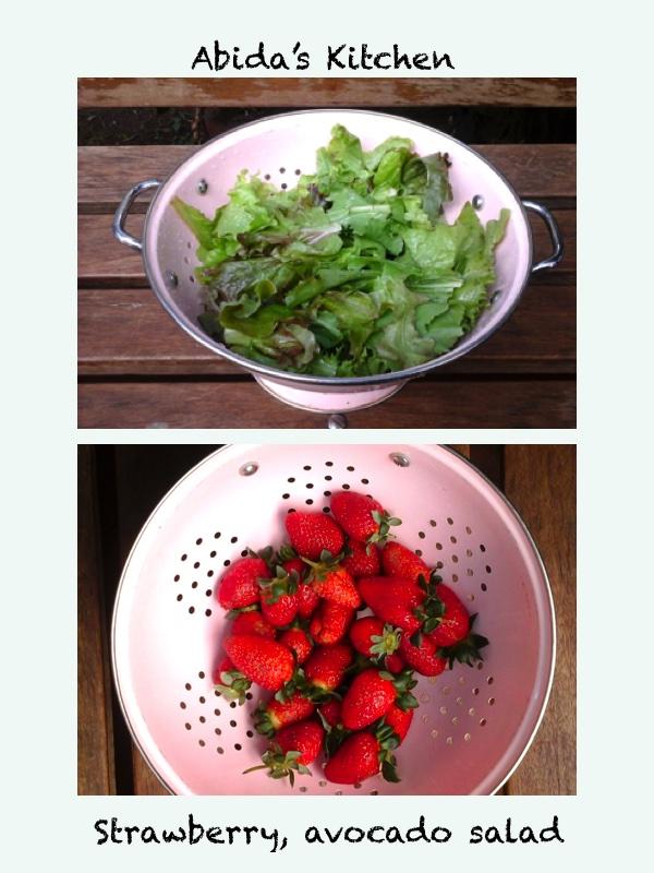 Avocado, strawberry salad with a honey basalmic vinaigrette