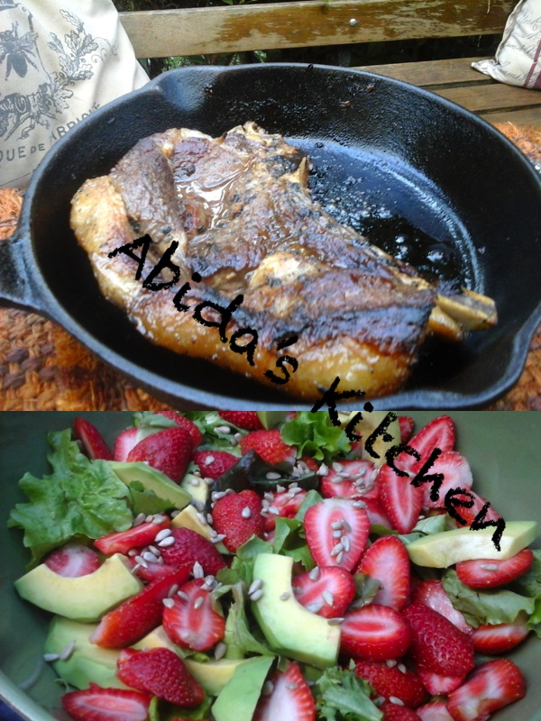 Skillet Rib Eye Steak with a Basalmic Orange Vinegar Reduction served with Avocado Strawberry Salad