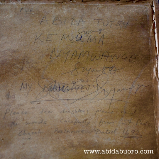 A copy of the Desiderata, with a handwritten message, given to Abida by her Mother.