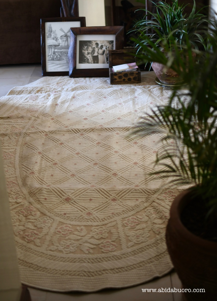 White rug with pink accents